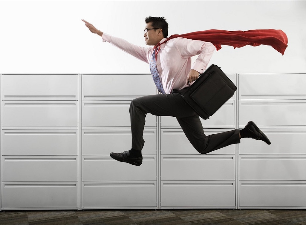 energised employee with cape